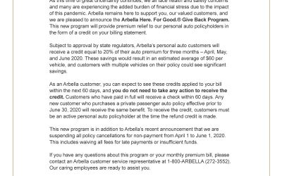 ARBELLA: Letter to customers about Give Back Program