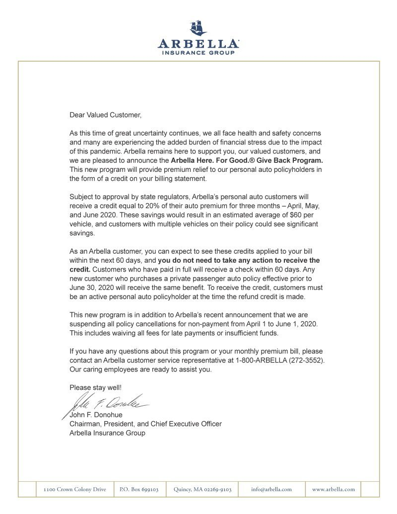 Letter to Arbella customers about the Give Back Program