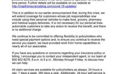 MAPFRE: Letter to customers about Staying Home Refund