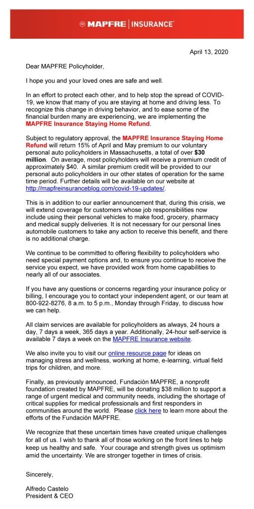 Letter to MAPFRE customers