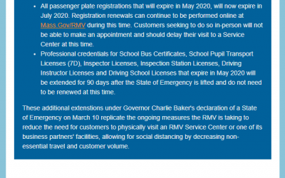 RMV: Further Extensions Implemented for Expiring Licenses, Permits, Motor Vehicle Inspection Stickers, and Passenger Plate Registrations