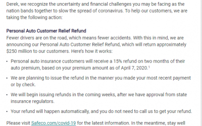 SAFECO: Sample letter to personal auto customers